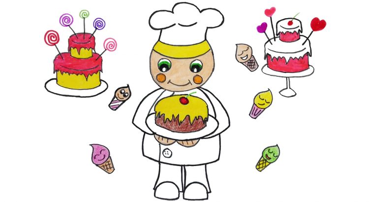 A baker clipart simple and easy cartoon drawing by hand for kids