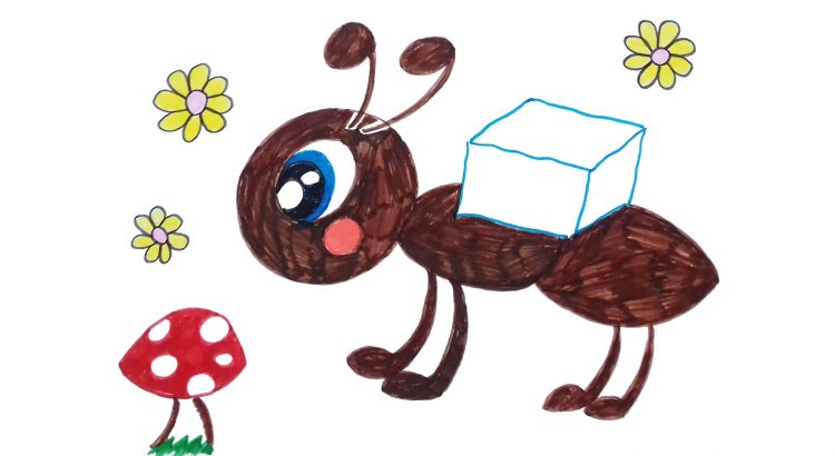 Ant clipart simple and easy cartoon drawing by hand for kids