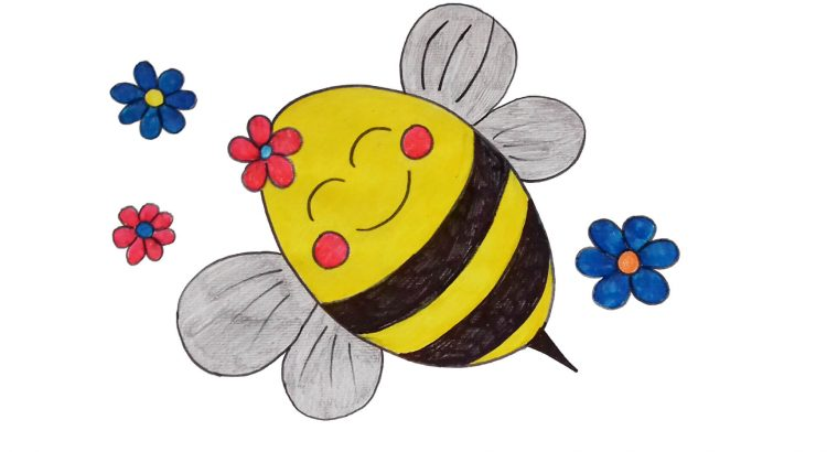 Bee clipart simple and easy cartoon drawing by hand for kids