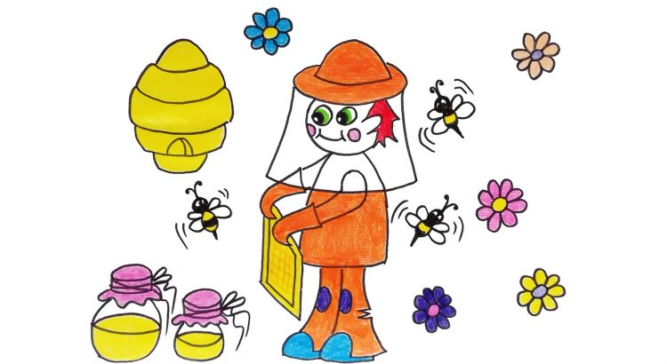 Beekeeper clipart simple and easy cartoon drawing by hand for kids