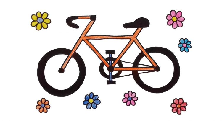 Bicycle clipart simple and easy cartoon drawing by hand for kids