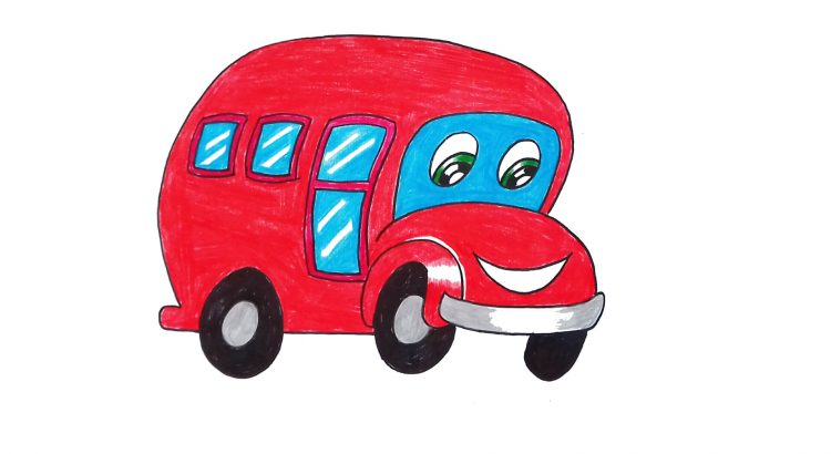 Bus clipart simple and easy cartoon drawing by hand for kids