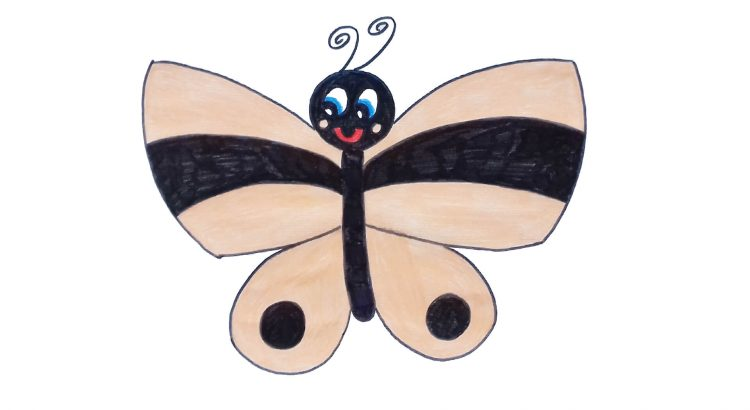 Butterfly clipart simple and easy cartoon drawing by hand for kids