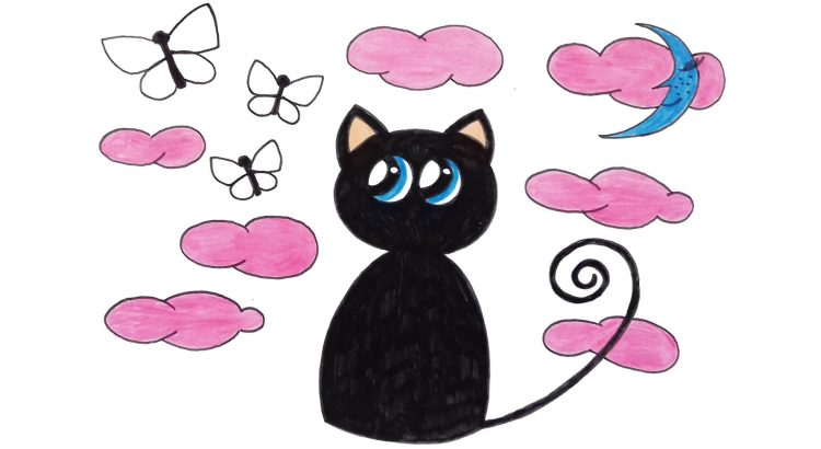 Cat clipart simple and easy cartoon drawing by hand for kids