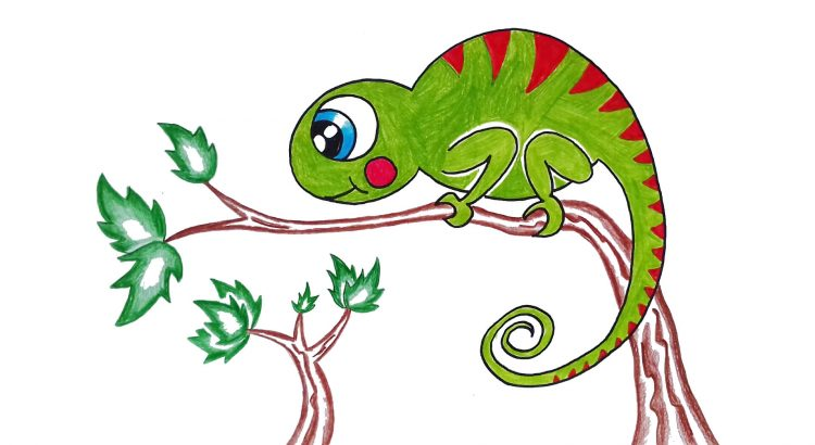 Chameleon clipart simple and easy cartoon drawing by hand for kids