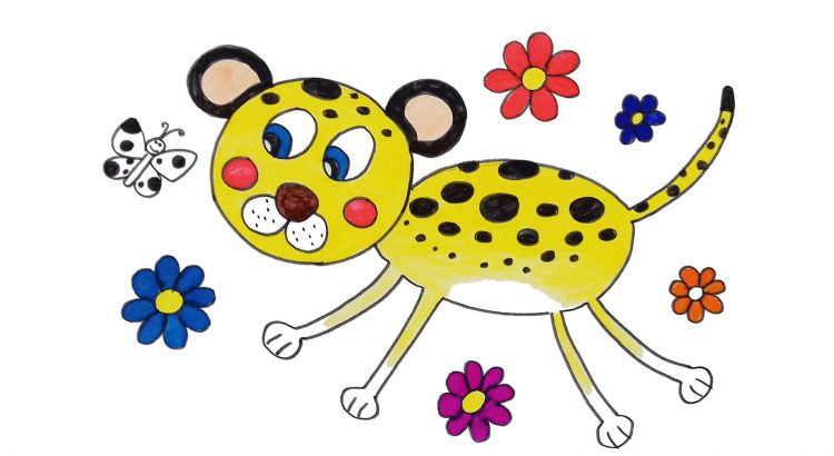Cheetah clipart simple and easy cartoon drawing by hand for kids
