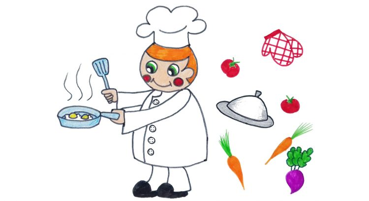 Cook clipart simple and easy cartoon drawing by hand for kids