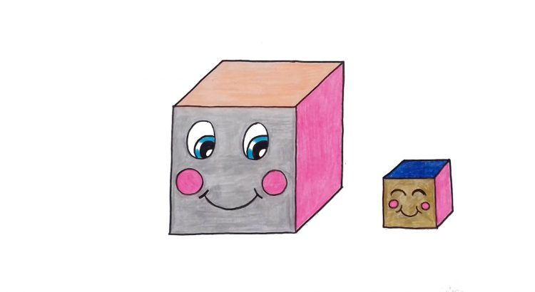 Cube clipart simple and easy cartoon drawing by hand for kids