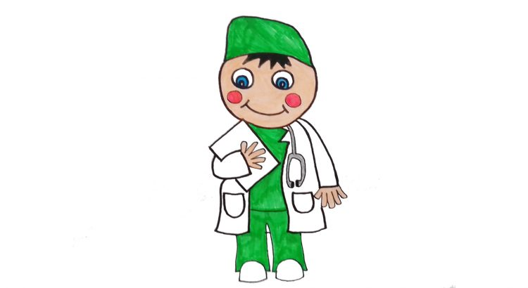 Doctor clipart simple and easy cartoon drawing by hand for kids