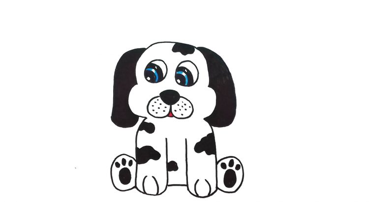Dog clipart simple and easy cartoon drawing by hand for kids