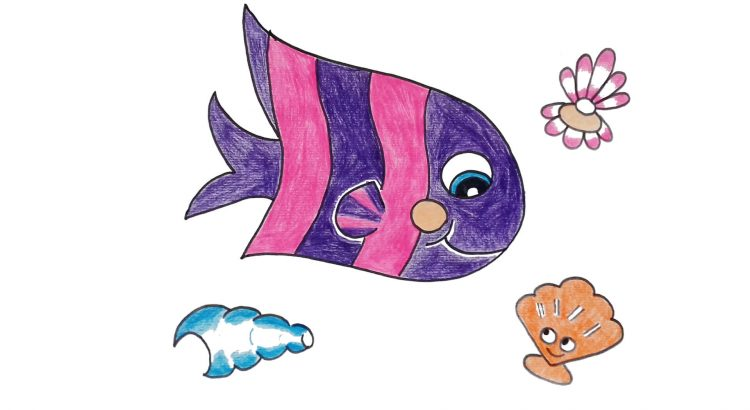 Fish clipart simple and easy cartoon drawing by hand for kids