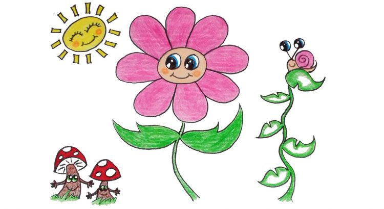 Flower clipart simple and easy cartoon drawing by hand for kids
