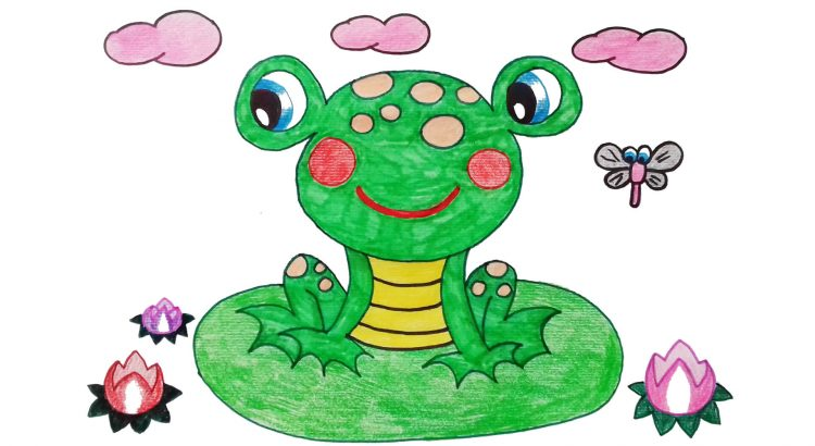 Frog clipart simple and easy cartoon drawing by hand for kids