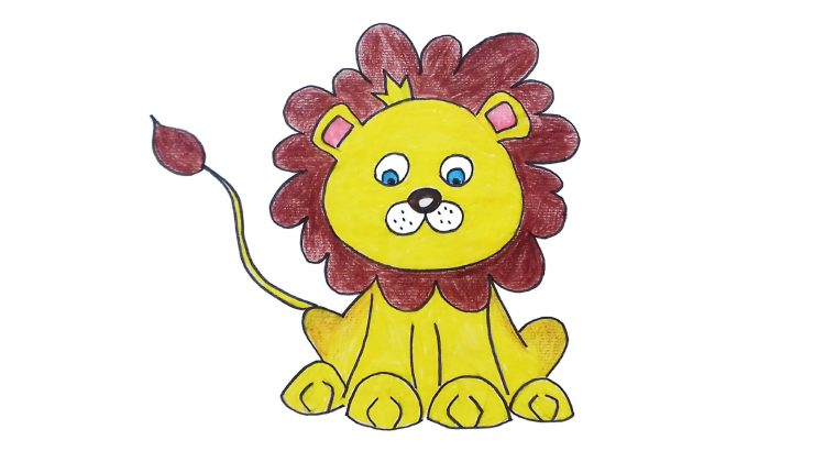 LIon clipart simple and easy cartoon drawing by hand for kids