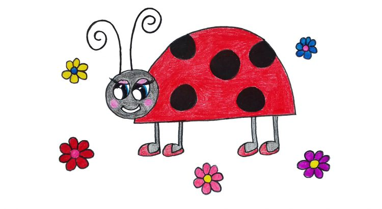 Ladybird clipart simple and easy cartoon drawing by hand for kids