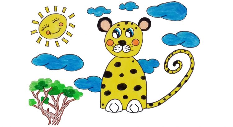 Leopard clipart simple and easy cartoon drawing by hand for kids