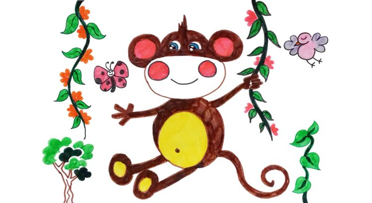 Monkey clipart simple and easy cartoon drawing by hand for kids