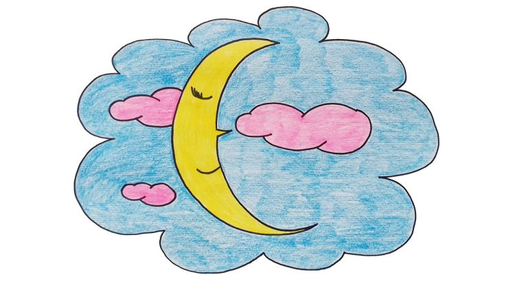 Moon clipart simple and easy cartoon drawing by hand for kids