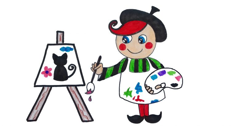 Painter clipart simple and easy cartoon drawing by hand for kids