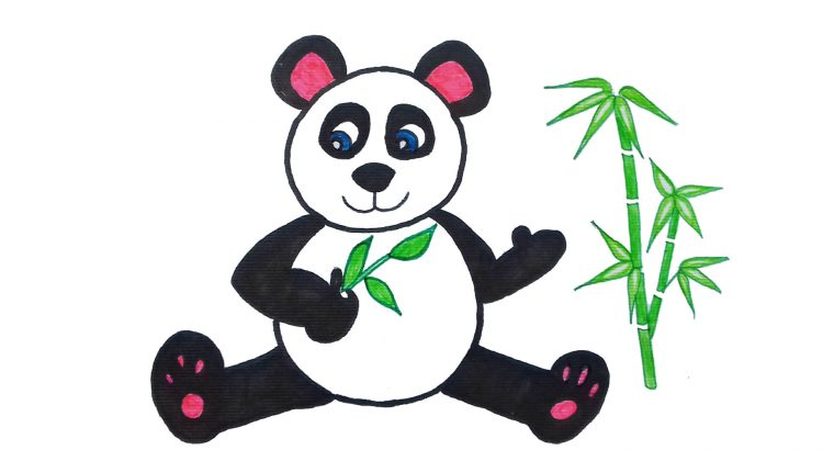 Panda clipart simple and easy cartoon drawing by hand for kids