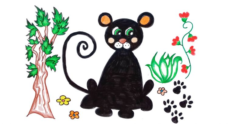 Panther clipart simple and easy cartoon drawing by hand for kids
