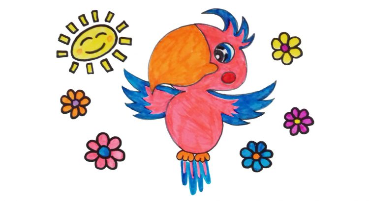 Parrot clipart simple and easy cartoon drawing by hand for kids