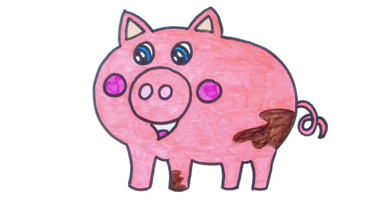 PIg clipart simple and easy cartoon drawing by hand for kids