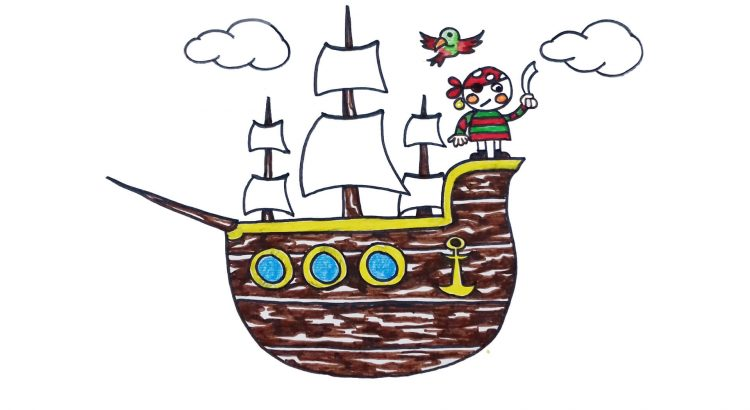 Pirate clipart simple and easy cartoon drawing by hand for kids
