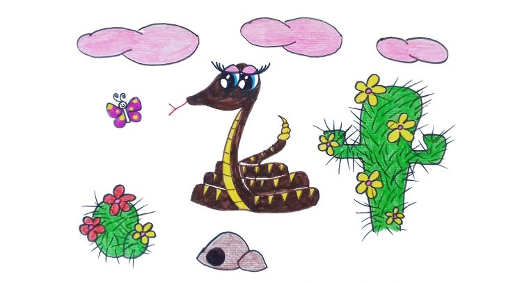 Rattlesnake clipart simple and easy cartoon drawing by hand for kids