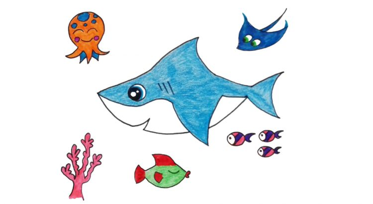 Shark clipart simple and easy cartoon drawing by hand for kids