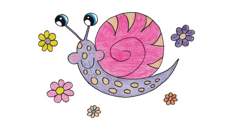 Snail clipart simple and easy cartoon drawing by hand for kids