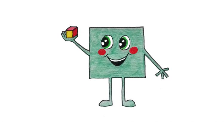 Square clipart simple and easy cartoon drawing by hand for kids