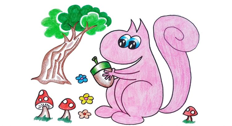 Squirrel clipart simple and easy cartoon drawing by hand for kids