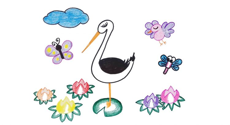 Stork clipart simple and easy cartoon drawing by hand for kids