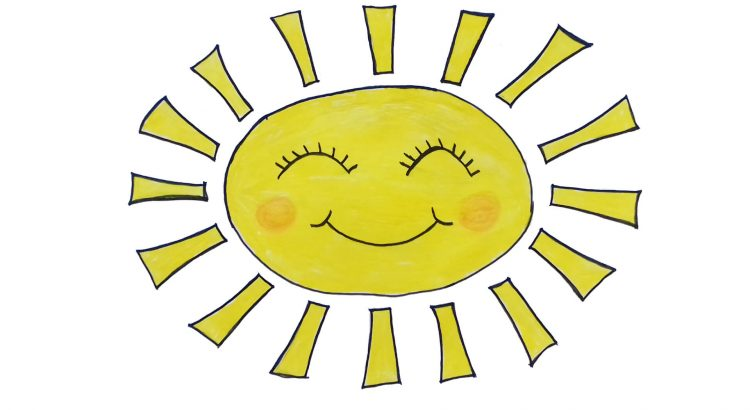 Sun clipart simple and easy cartoon drawing by hand for kids