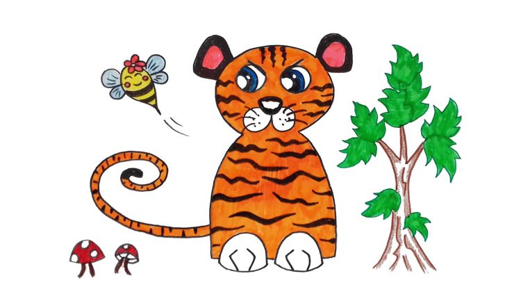 Tiger clipart simple and easy cartoon drawing by hand for kids