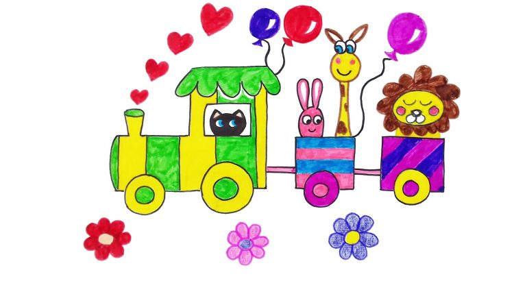 Train clipart simple and easy cartoon drawing by hand for kids