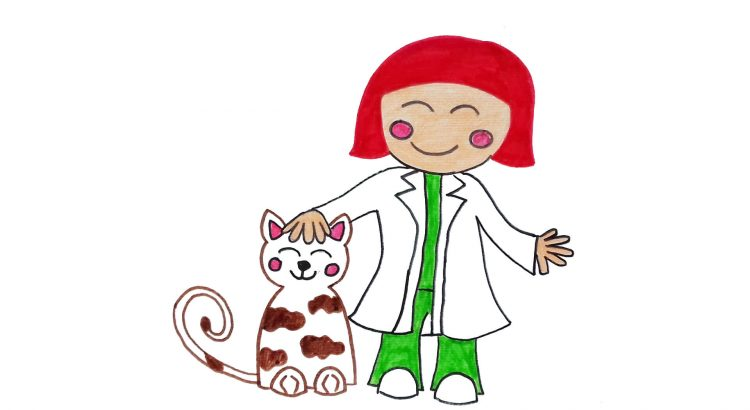 Veterinarian clipart simple and easy cartoon drawing by hand for kids