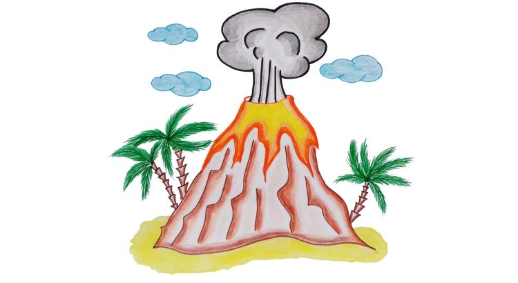 Volcano clipart simple and easy cartoon drawing by hand for kids