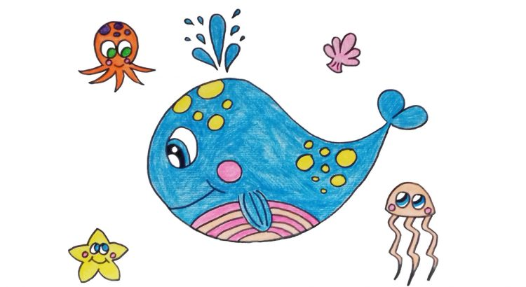 Whale clipart simple and easy cartoon drawing by hand for kids