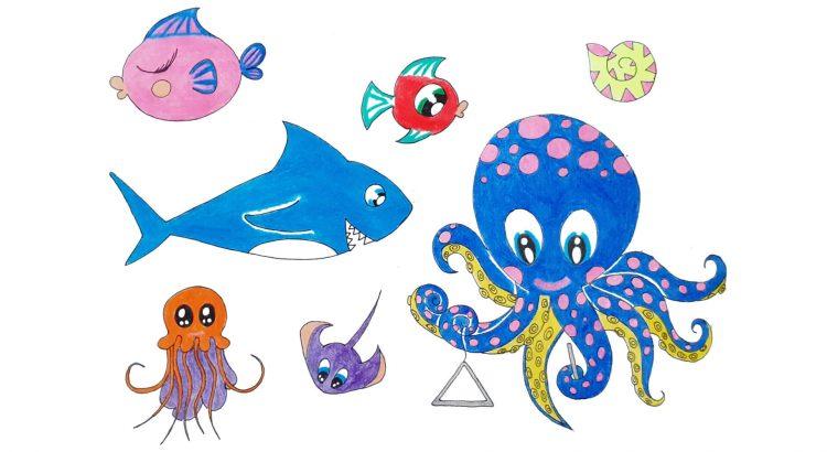 octopus and shark