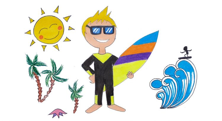 surfer cartoon
